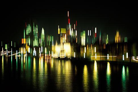 image 5-534-23 Germany, Frankfurt, Skyline lights abstract