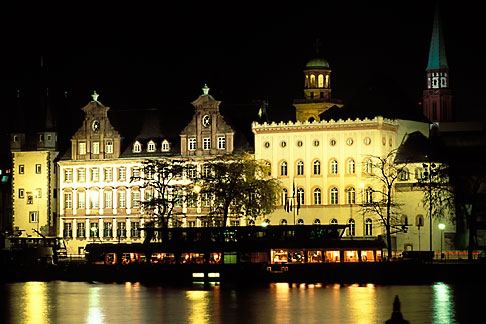 image 5-534-7 Germany, Frankfurt, Riverfront with Church of St Paul at night