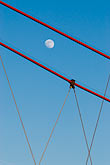 vertical stock photography | German, Frankfurt, Holbeinsteg Pedestrian Bridge, cables with moon, image id 8-710-1359