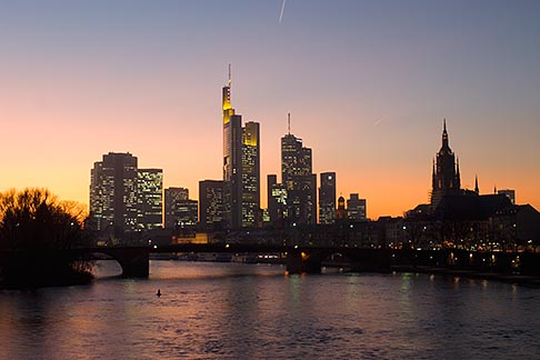 image 8-710-1416 German, Frankfurt, City skyline with Main River at sunset