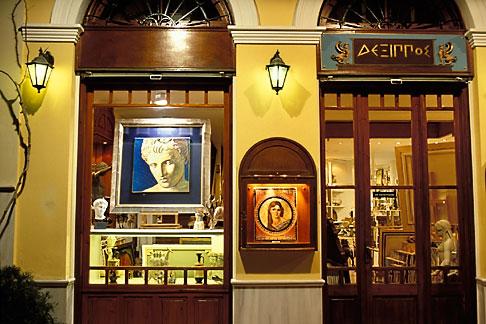 image 3-650-5 Greece, Athens, Plaka, Shopfront at night