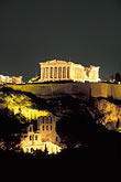 evening stock photography | Greece, Athens, Acropolis, Parthenon at night from Filopapou Hill, image id 3-650-81