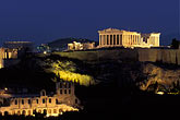 hill town stock photography | Greece, Athens, Acropolis, Parthenon at night from Filopapou Hill, image id 3-650-94