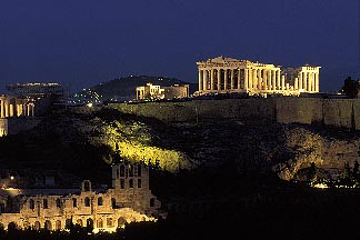3-650-94  stock photo of Greece, Athens, Acropolis, Parthenon at night from Filopapou Hill