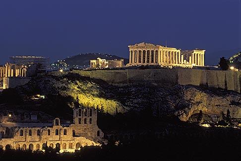 image 3-650-95 Greece, Athens, Acropolis, Parthenon at night from Filopapou Hill