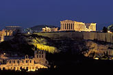 evening stock photography | Greece, Athens, Acropolis, Parthenon at night from Filopapou Hill, image id 3-650-95