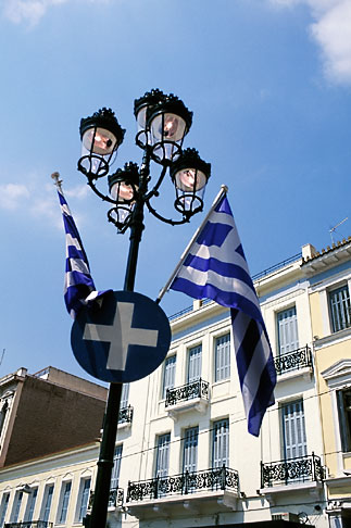 image 3-653-41 Greece, Athens, Greek flags
