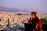 one woman only stock photography | Greece, Athens, Filopapou Hill in evening, image id 3-654-41
