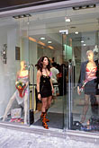 woman window shopping stock photography | Greece, Athens, Kolonaki, shopping, mannequins in window, image id 3-654-49