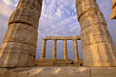 twilight stock photography | Greece, Attica, Cape Sounion, Temple of Poseidon, image id 3-670-60