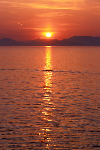 image 3-700-64 Greece, Hydra, Sunset over Gulf of Hydra