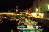 boat moored stock photography | Greece, Hydra, Harbor at night, image id 3-701-77