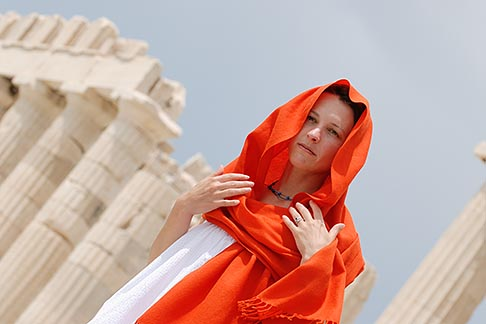 image 7-640-5470 Greece, Woman in white dress with red shawl