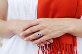 closeup portrait stock photography | Portrait, Woman with white dress, closeup of hands, image id 7-640-663