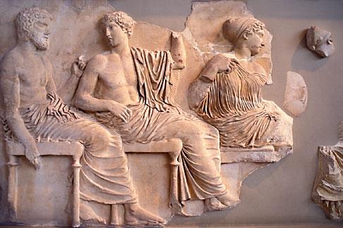 image 9-252-75 Greece, Athens, Frieze of Poseidon, Apollo and Artemis, Acropolis Museum