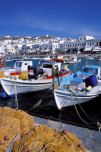 image 9-260-73 Greece, Mykonos, Boats and fishing nets in harbor