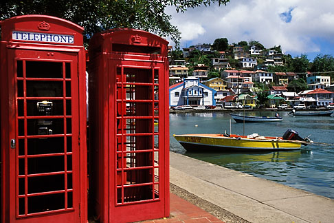 image 3-590-74 Grenada, St Georges, Carenage, telephone booths