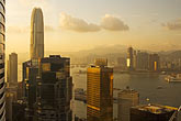 aerial view of downtown at sunset stock photography | Hong Kong, Aerial view of downtown at sunset, image id 7-680-6303
