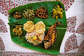 horizontal stock photography | India, Kerala, Thali dinner, backwaters houseboat, image id 7-133-5