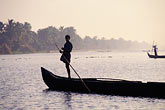fog stock photography | India, Kerala, Boatmen, coastal backwaters, image id 7-135-3