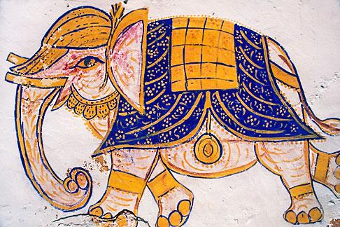 image 7-318-9 India, Rajasthan, Elephant wall painting, Samode village