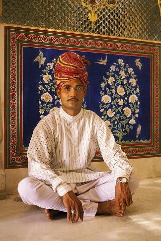 image 7-320-4 India, Rajasthan, Rajasthani man wiht turban, seated, Samode Palace