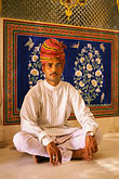 people stock photography | India, Rajasthan, Rajasthani man wiht turban, seated, Samode Palace, image id 7-320-4