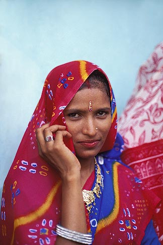 7-332-7  stock photo of India, Rajasthan, Rajasthani woman, Samode village