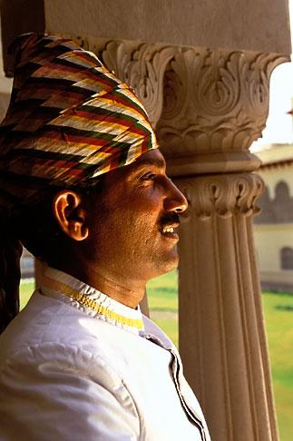 image 7-339-6 India, Jaipur, Turbaned Rajasthani, Rambagh Palace