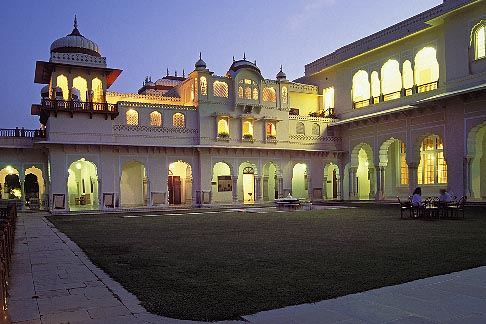 image 7-345-4 India, Jaipur, Rambagh Palace at night