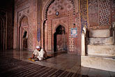 people stock photography | India, Agra, Taj Mahal, imam studying in mosque, image id 7-384-13