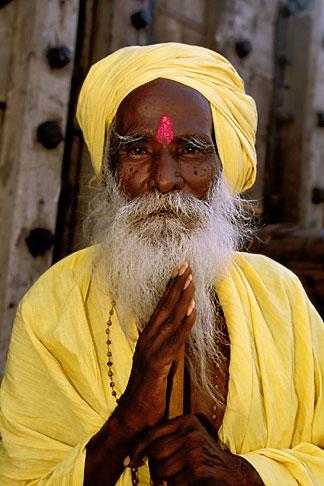 image 7-74-2 India, Tamil Nadu, Saddhu with yellow robes