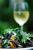 vertical stock photography | Food, Donegal mussels and White Wine, image id 4-752-17