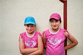 hat stock photography | Ireland, County Louth, Carlingford, Redhead sisters, image id 4-753-12