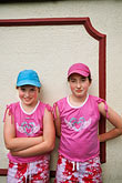 arms folded stock photography | Ireland, County Louth, Carlingford, Redhead sisters, image id 4-753-9