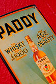 red stock photography | Ireland, Dublin, Paddy whiskey sign, image id 4-900-1636