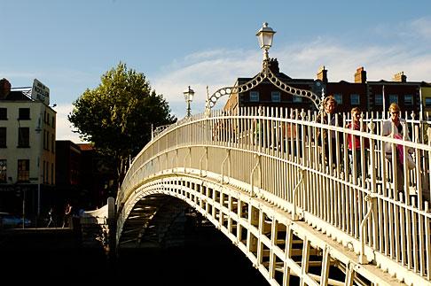 image 4-900-1945 Ireland, Dublin, Hapenny Bridge over the River Liffey