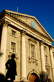 statue stock photography | Ireland, Dublin, Trinity College entrance, image id 4-900-1964