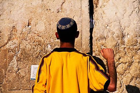 image 9-340-90 Israel, Jerusalem, Man praying, Western Wall