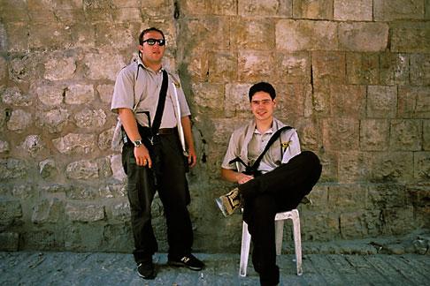 image 9-350-16 Israel, Jerusalem, Guards, Western Wall Tunnel
