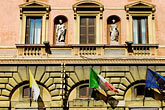 wall with windows stock photography | Italy, Rome, Building with flags, image id S4-500-3613