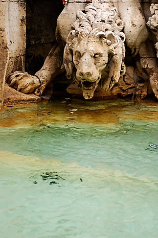 image S4-500-3968 Italy, Rome, Detail, Fountain of the Four Rivers by Bernini, Piazza Navona