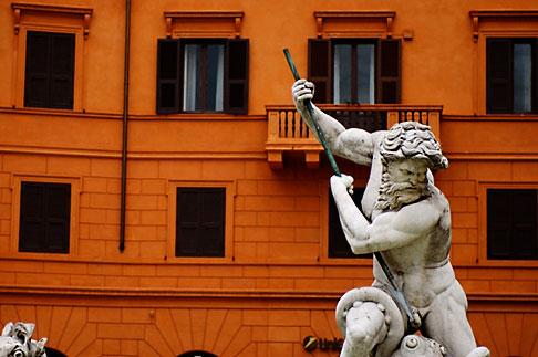 image S4-500-4032 Italy, Rome, Detail, Fontana del Moro by Bernini, Piazza Navona