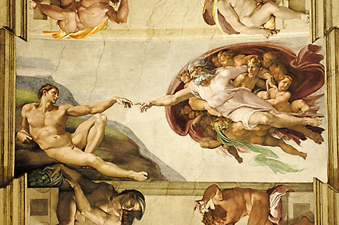 image S4-504-5901 Vatican City, Creation of Adam by Michelangelo, Sistine Chapel