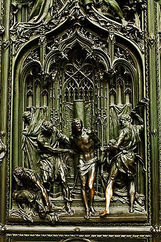 image S4-510-6622 italy, Milan, Sculpted Door, Duomo