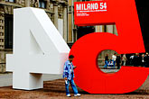 cell phone stock photography | Italy, Milan, Sign commerating the reconstruction of the city, image id S4-510-6749