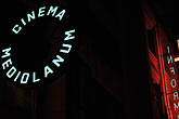 night stock photography | Italy, Milan, Cinema Mediolanum sign, image id S4-510-7050