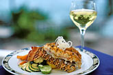 wine glass stock photography | Food, Lobster Tail entree with white wine, image id 1-831-38