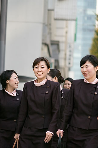 image 5-850-2683 Japan, Tokyo, GInza, Flight attendants walking