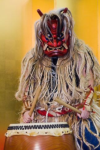 image 5-850-2814 Japan, Tokyo, Namahage folk drummer